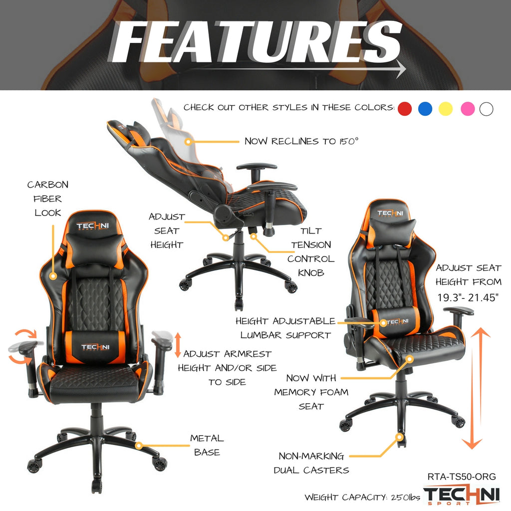 Techni Sport RTA Orange Gaming Chair