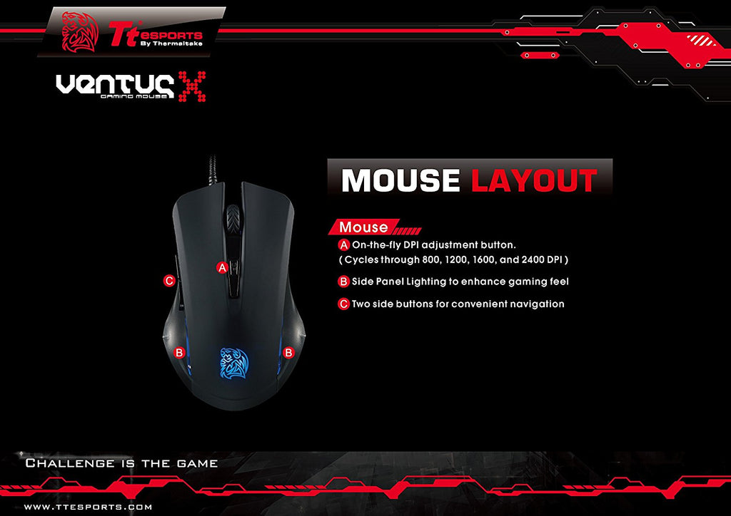 Tt eSPORTS Commander Gaming Keyboard and Mouse Combo Bundle