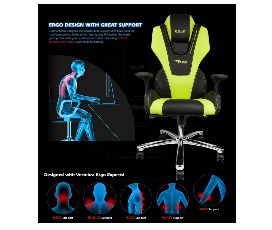E-Blue Mazer Yellow Gaming Chair