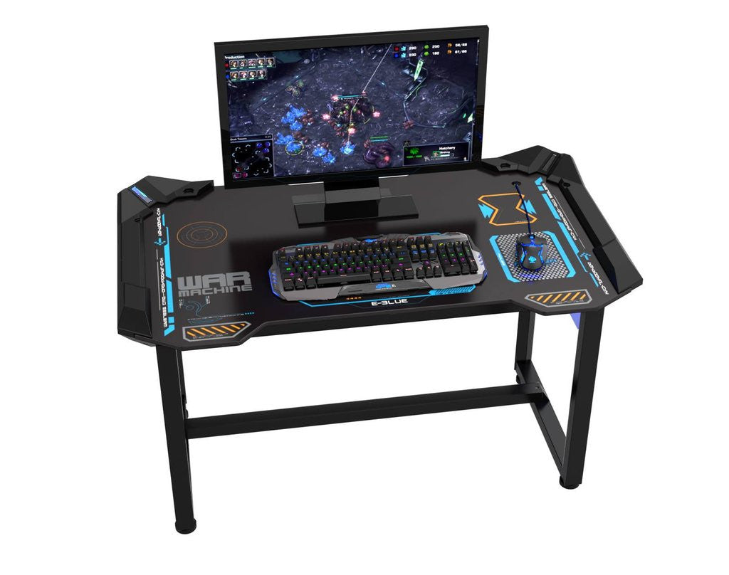 E Blue Wireless Glow Gaming Desk Champs Chairs