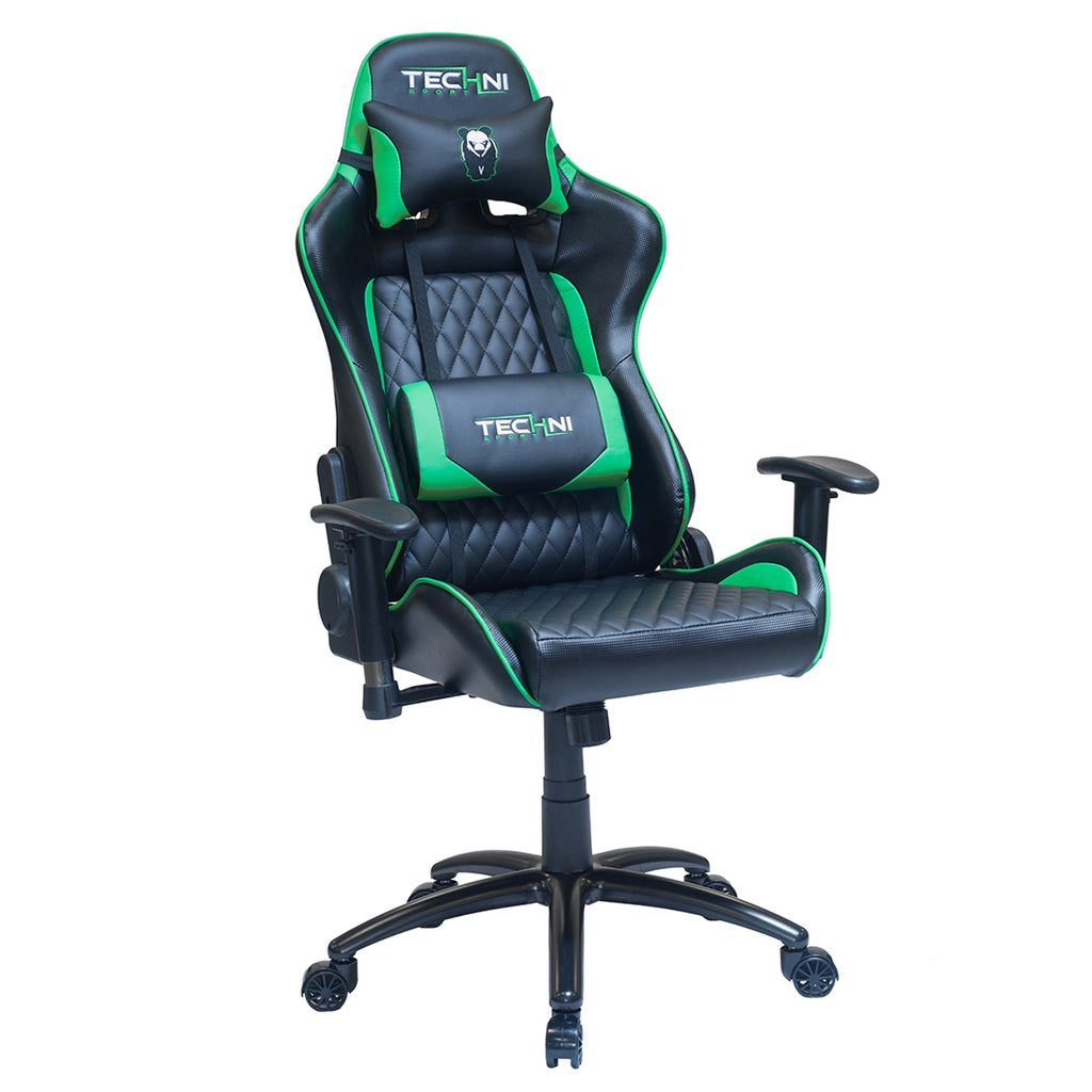 Techni Sport Pnda Green Gaming Chair