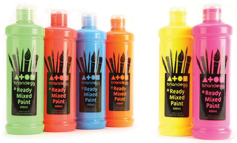 Ready Mixed Paint - Fluorescent Colours pk 6