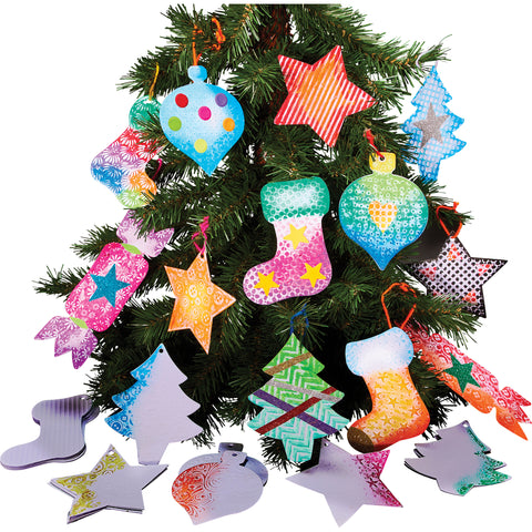 embossed tree decorations pk 30