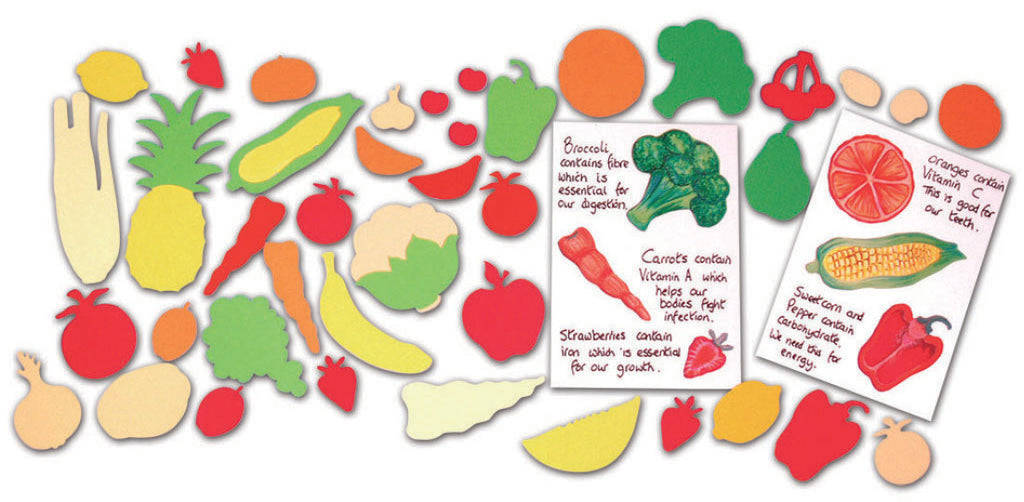 Fruit & Vegetable Paper Shapes pk 400