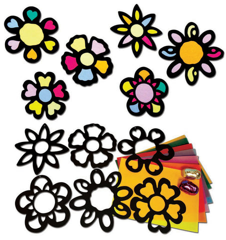 Stained Glass Flowers pk 30