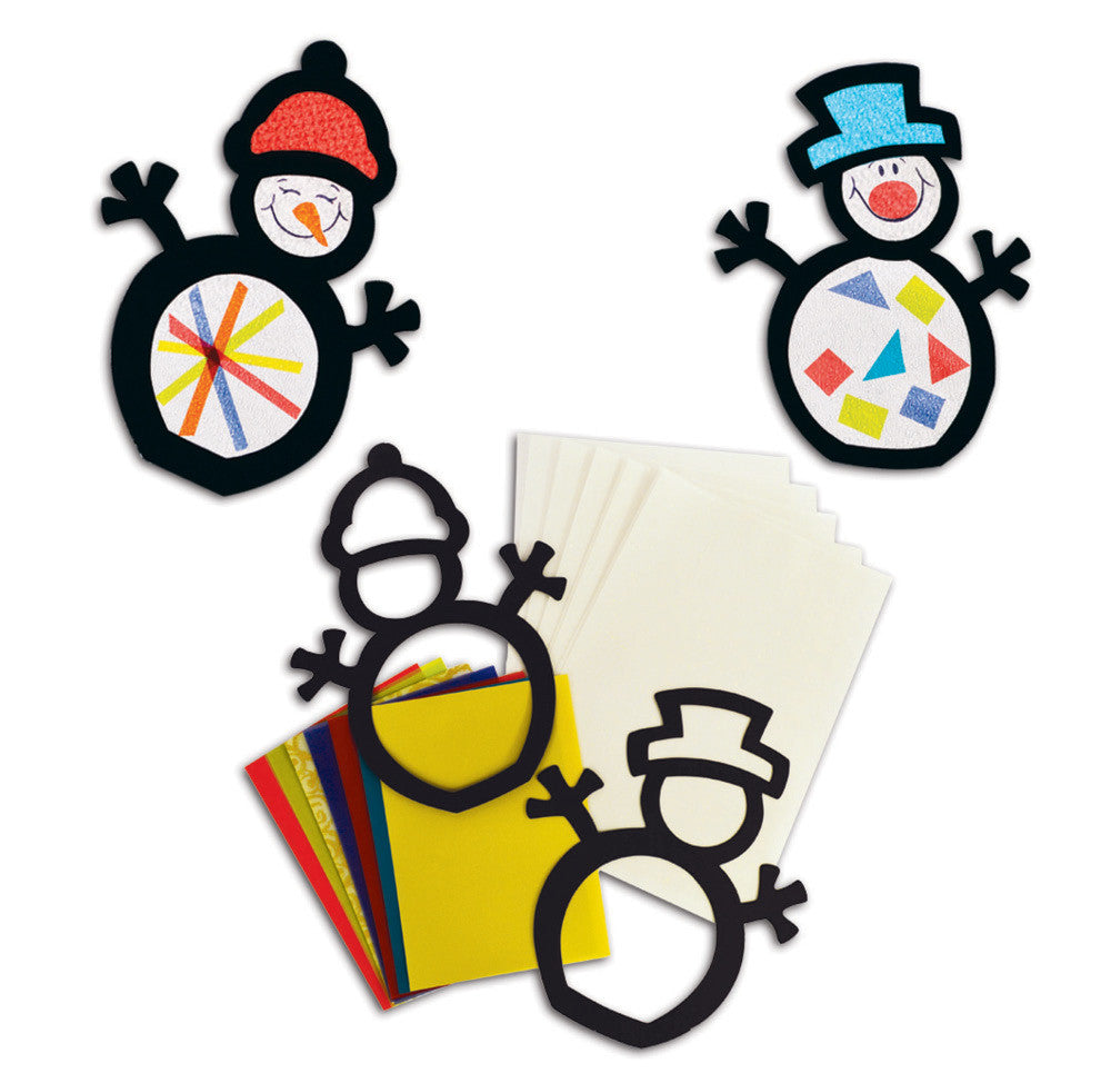Stained Glass Snowmen pk 30
