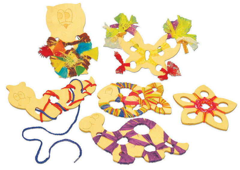 Wooden Weaving Creatures (FREE laces) pk 6