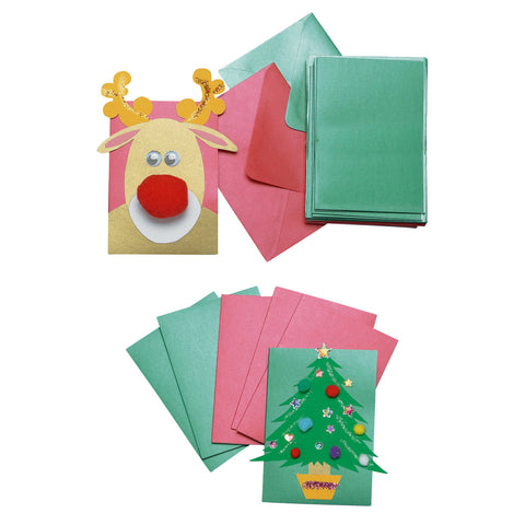 Red & Green Cards with Envelopes pk 30