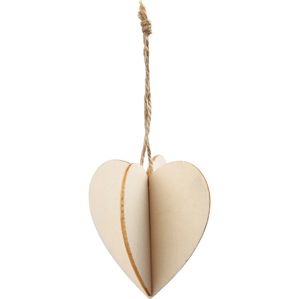 3D Wooden Heart Decoration pk 3