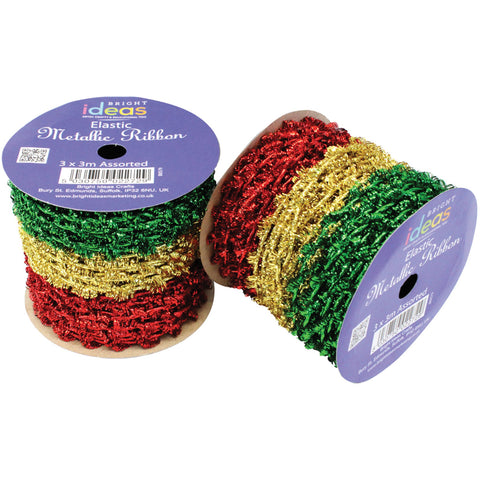 Elastic Metallic Ribbon - Red, Gold, Green pk 3