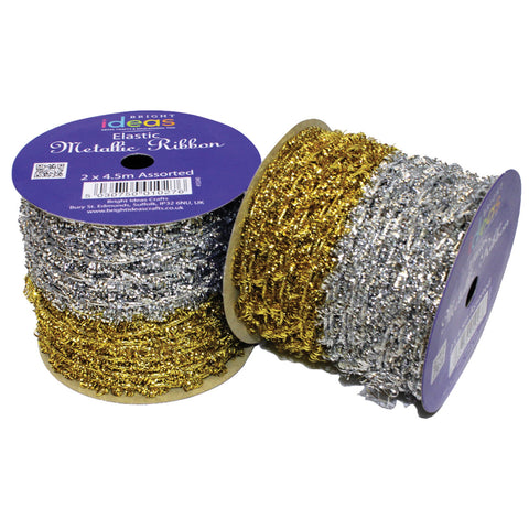 Elastic Metallic Ribbon - Gold/Silver pk 2