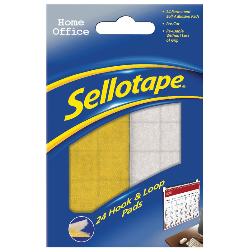 Sellotape Hook & Loop Pads pk 24