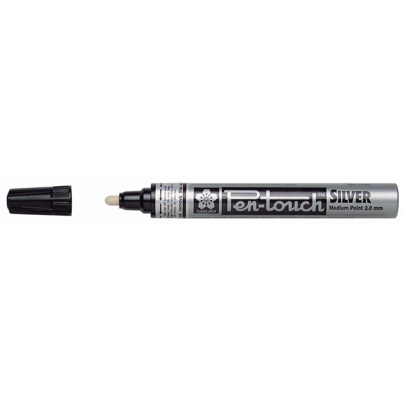 Pen-Touch Metallic Marker - Silver pk 12