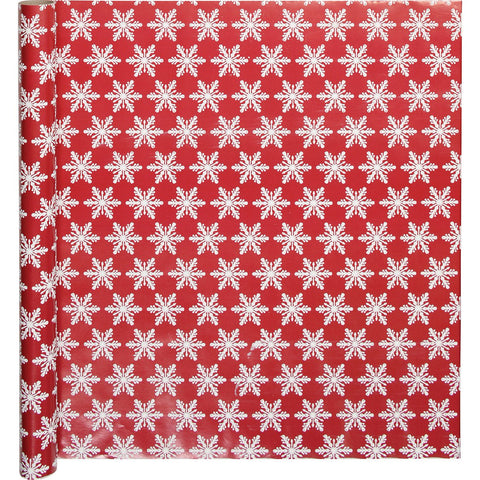 Wrapping Paper (Red Snowflakes) 50cm x 3m