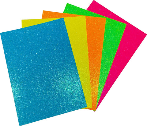 Fluorescent Glitter A4 Card 230gsm (Pack of 5 Sheets)