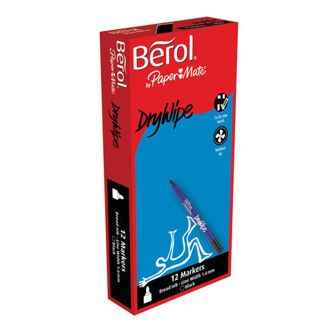 Berol Dry Wipe Broad - Black pk 12