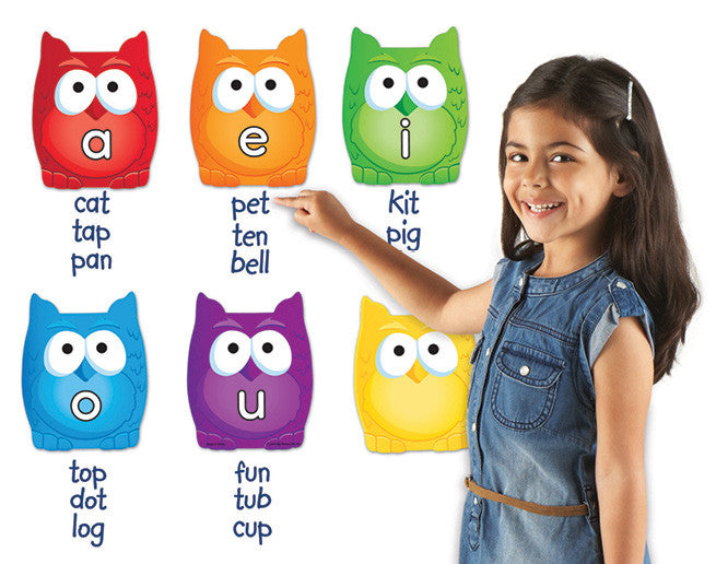 Vowel Owl Magnets pk6