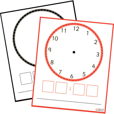 Dry Wipe Clock Faces pk 10