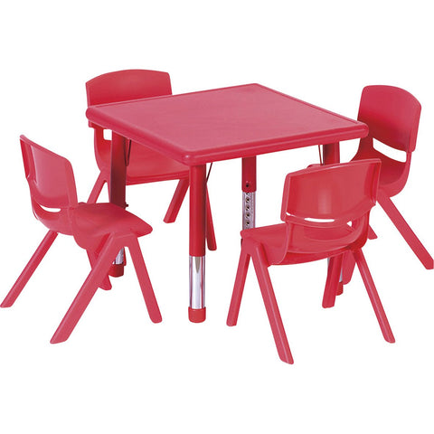 Plastic Square Classroom Table (Red)