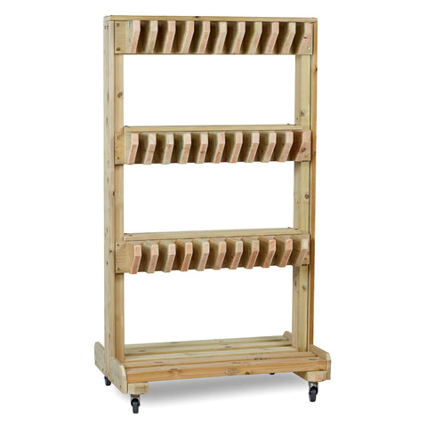 Double-Sided Wooden Welly Storage