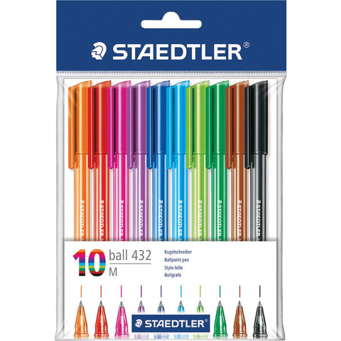 Staedtler-Rainbow-Ballpoint-Pen-(Assorted)-pk-10