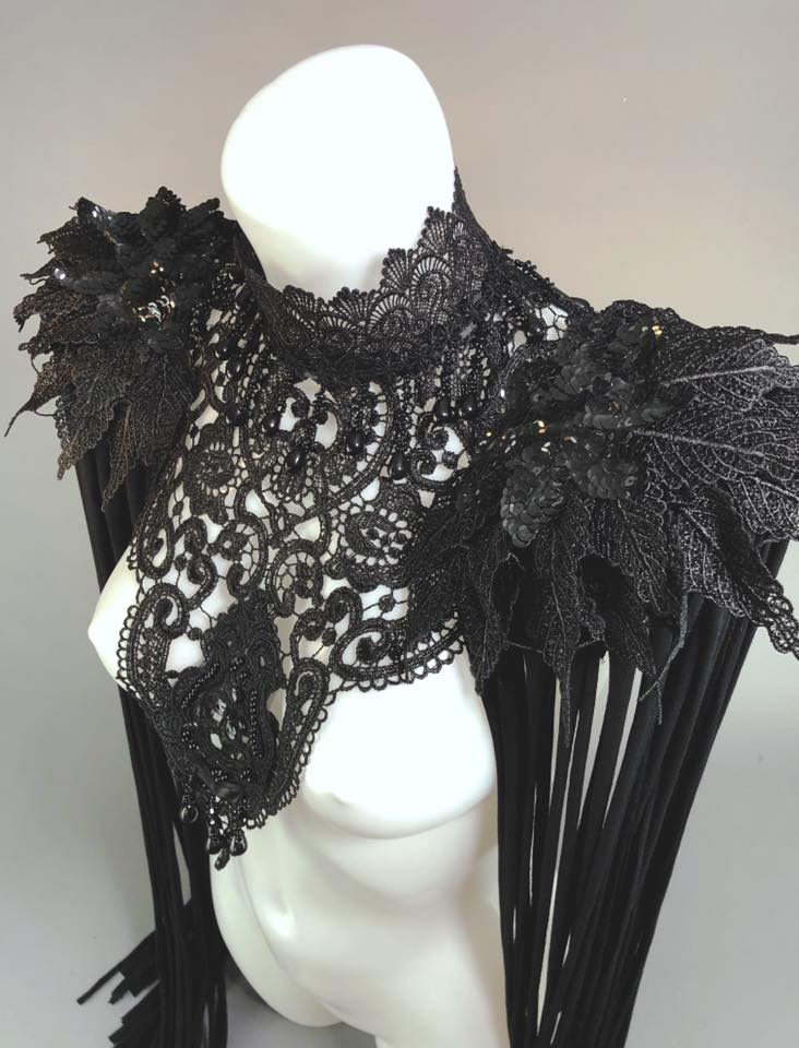 BLACK MASS - 3 Piece Gothic Couture Lace Fringed Shoulder Harness
