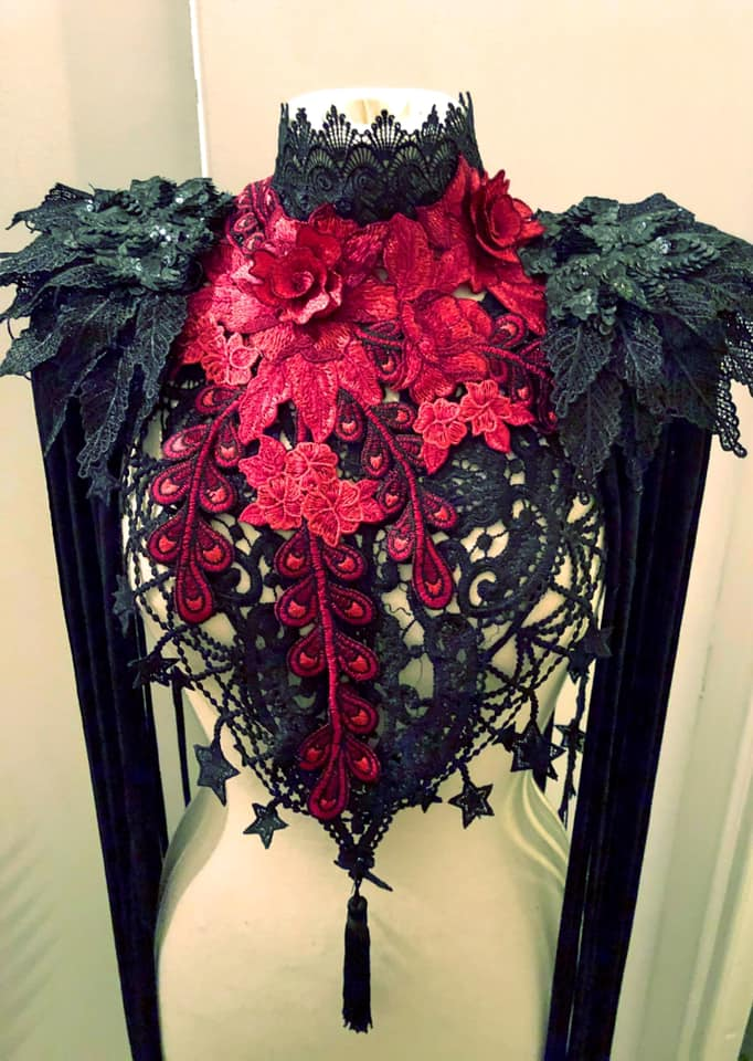 DANSE MACABRE - Crimson & Black Lace Harness Collar & Epaulettes