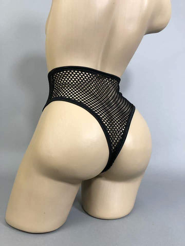 ATTITUDE PROBLEM - Hi Leg Fishnet Briefs UK 24-26