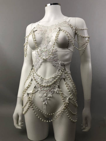 IMMORTALIA - White Lace & Pearl String Bodycage