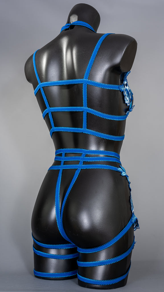 BLUE WILLOW - Floral Lace Cage Briefs with Thigh Straps