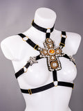 KINGDOM - Couture Heavy Crystal Rhinestone Crucifix Harness