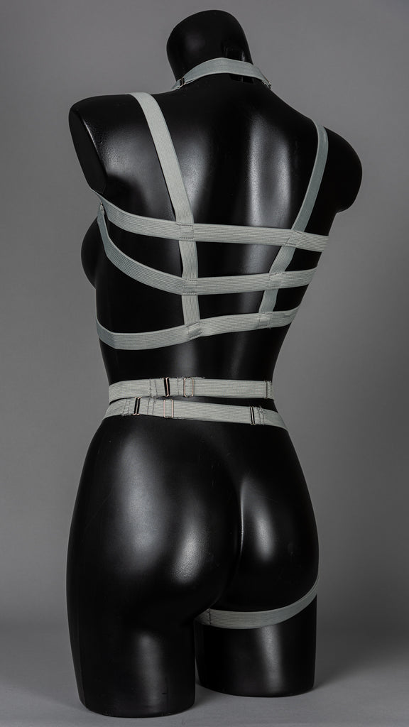 JUSTICE - Dove Grey Asymmetric Punk Harness Top