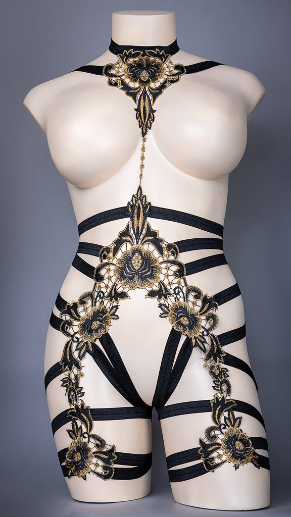 NINEVEH - Black & Gold Lace Bodycage