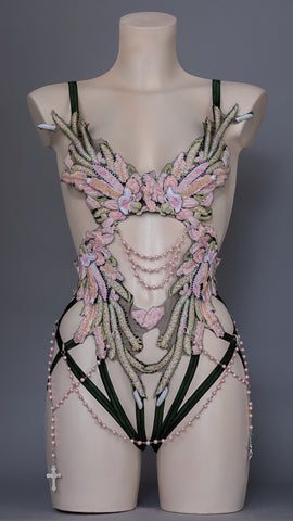MAY QUEEN - Pastel & Pink Pearls Bodycage