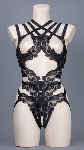 CHARLATAN - Black Sequin Lace Bodycage