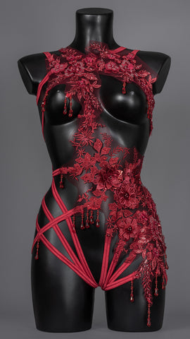 BLOOD COUNTESS - Couture Beaded Lace Bodycage