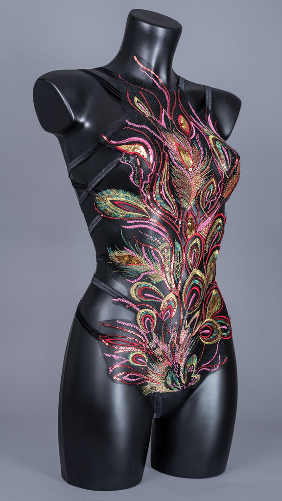 KUJAKU - Sequin Embroidered Peacock Bodycage