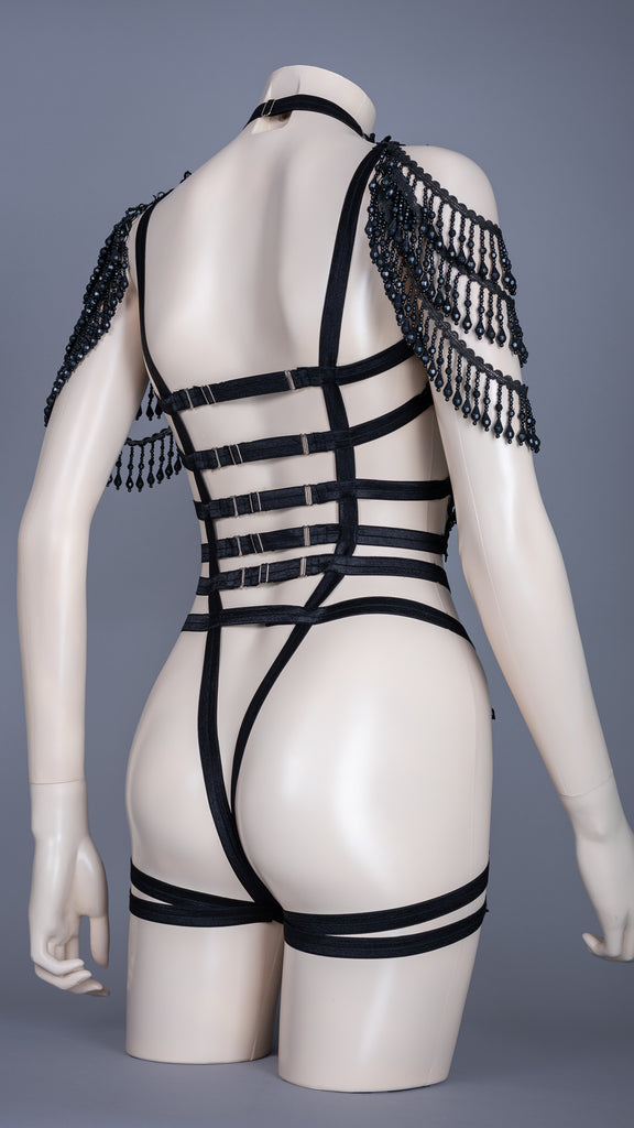 NARCOTIQUE - Luxe Black Lace Beaded Fringe Bodycage
