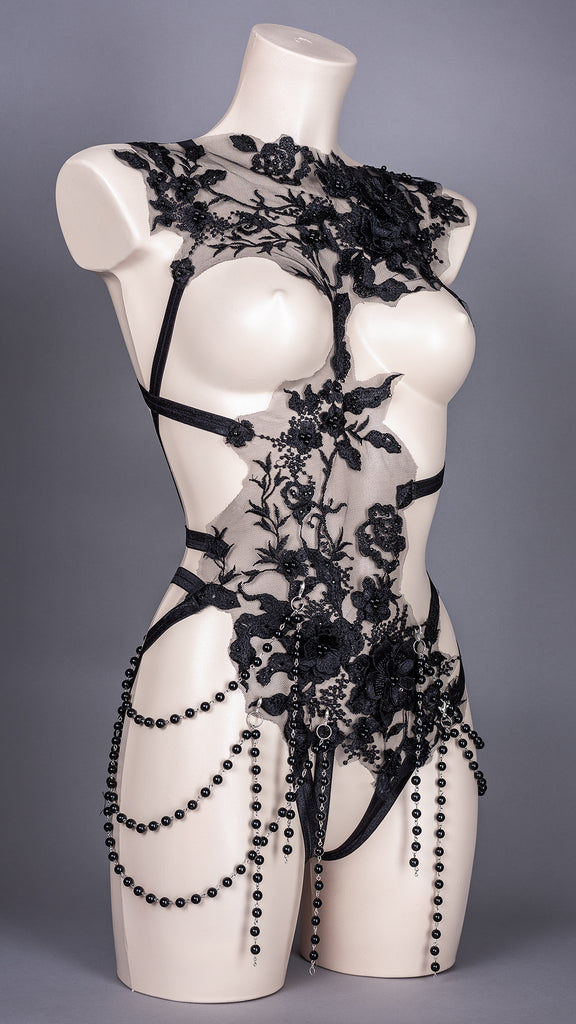 I WANNA B EVIL - Black Lace and Dripping Bead Bodycage