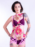 UTOPIA - Beautiful Pink Flower Bodycage Playsuit