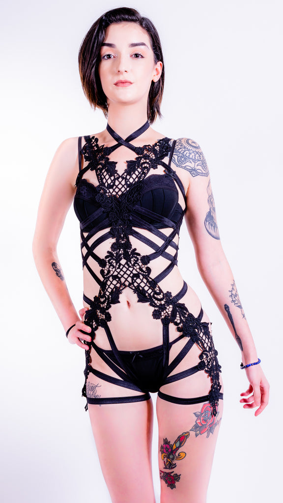 ELOISE - Black Lace Bodycage with Thigh Straps