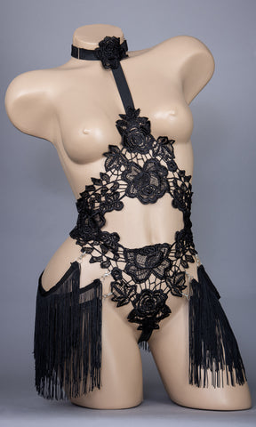 TEMPEST - Black Lace Fringed Bodycage