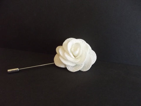 White flower lapel pin textured show girl glam white flower lapel pin textured mightylinksfo