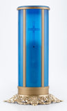 Blue electric flameless LED battery operated memorial sanctuary candle
