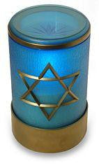 Blue flameless LED battery operated electric battery Jewish Shiva candle with Star of David