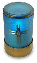 Blue flameless LED battery operated electric funerary candle with cross