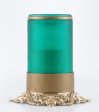 green flameless candle with remote brass base