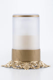 white flameless candle with remote brass base