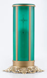 Green electric flameless LED battery operated memorial sanctuary candle
