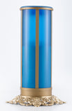 blue pillar flameless electric battery operated LED memorial candle